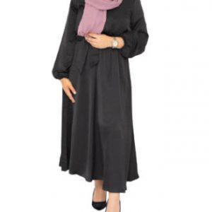 Satijnen jurk Zwart